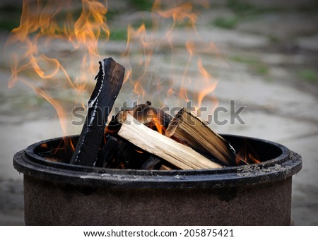 Dry wood which burn brightly. - stock photo