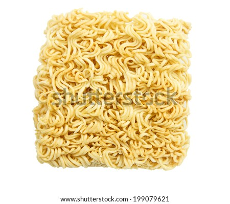 Dry yellow noodles isolated on white background