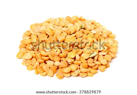 Dry yellow peas isolated on a white background. - stock photo