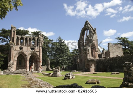 Dryburgh Abbey in Melrose area, Scotland . Founded in 1150 in an agreement between Hugh de Morville, Lord of Lauderdale and the Premonstratensian order - stock photo