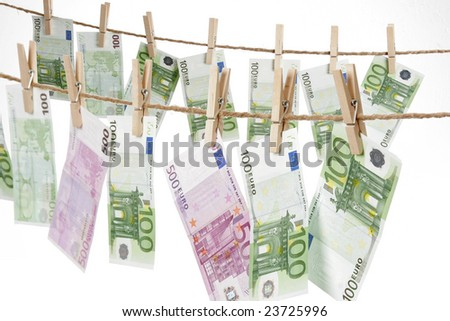 Drying Euro Bills - stock photo
