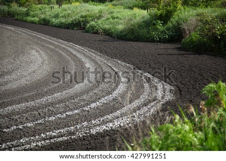 Drying feces into fertilizer. Lake for drying sewage. Drain faeces. Septic tank with sewage. Dirty waste water in sewage plant. The drain in the industry. - stock photo
