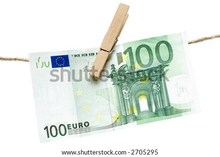 Drying Green Euro Bill - stock photo