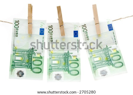 Drying One Hundred Euro Bills - stock photo