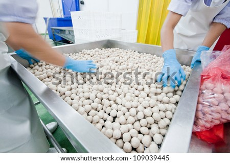 drying pork meat ball - stock photo