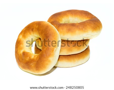 drying round bagel on a white background