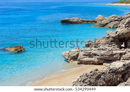 Drymades beach, Albania. Summer  Ionian sea coast view.
