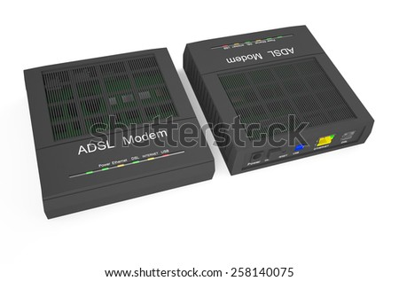 DSL modem, front and back view isolated on white background - stock photo