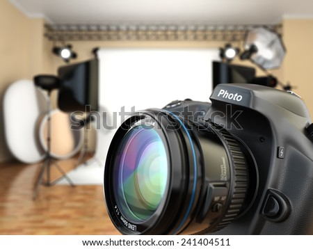 DSLR camera in photo studio with lighting equipment, softbox and flashes. 3d - stock photo
