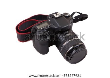 DSLR camera isolated on white background - stock photo