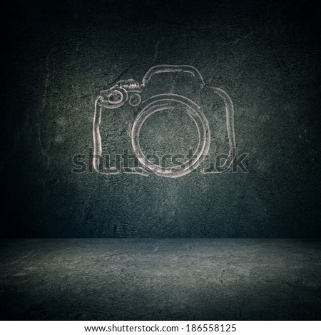 DSLR Camera Sketch on Wall. - stock photo