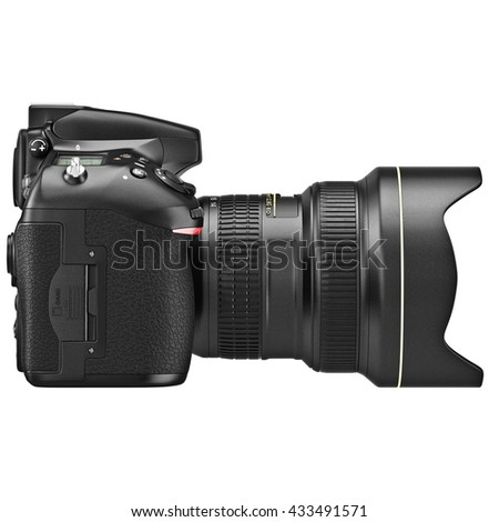 DSLR photo camera, lens zoom, side view. 3D graphic - stock photo