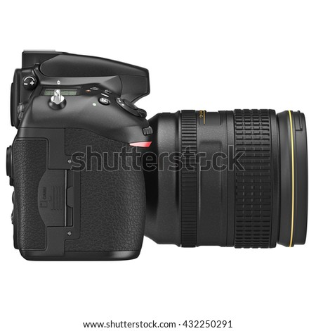DSLR photo camera professional, side view. 3D graphic - stock photo