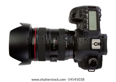 dslr photocamera top view isolated on white - stock photo