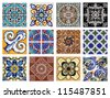 Dtail of the traditional tiles fromhouses in Valencia, Spain - stock photo