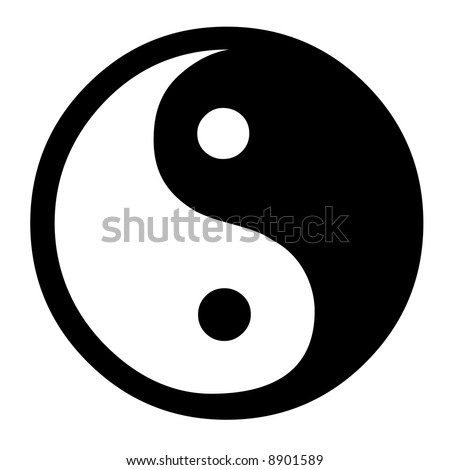 Dual Concepts Of Yin And Yang Describes Two Primal Opposing But Complementary Cosmic Forces - stock photo
