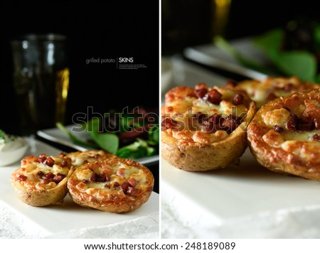 Dual image of delicious grilled potato skins with melted cheese and bacon toppings and a cold beer and green salad in the background. Copy space. - stock photo