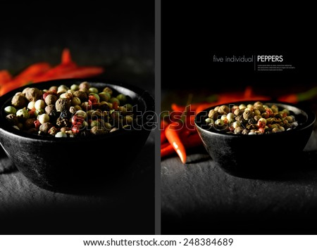 Dual image of five pepper spices with red bird eye chillies in background. Concept image for cooking with spices. Copy space. - stock photo