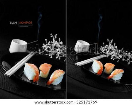 Dual montage of fresh Japanese sushi with chop sticks, burning incense and white flowers against a black background. Generous accommodation for copy space. - stock photo