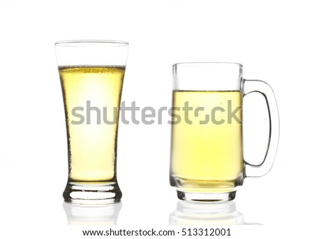 dual or two frosty lager light beer in clear glass set with steam for winter drink or celebration isolated on white background and beer glass reflection