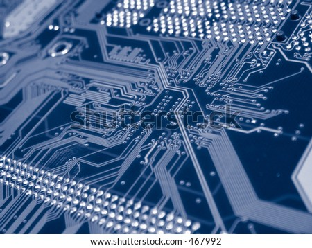 dual processor computer mother board - stock photo