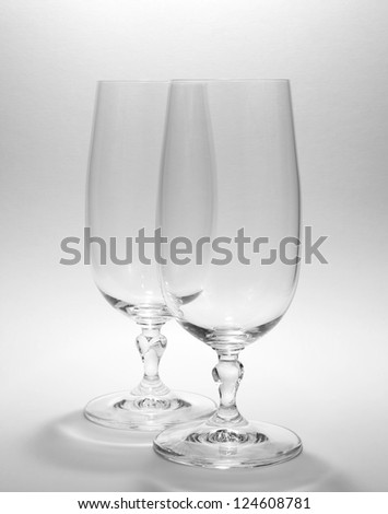 dual wine glass on white background - stock photo