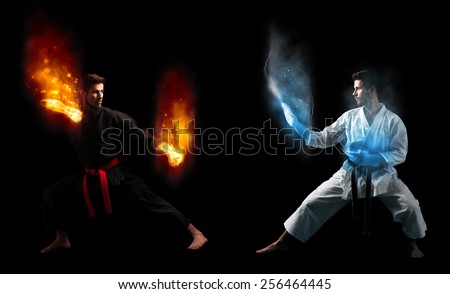 Duality Concept, Two Karate Fighters With Super Power Against Themselves, Photo Manipulation - stock photo