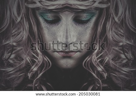 duality, pink haired fairy girl - stock photo