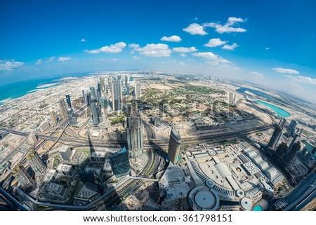 Dubai aerial skyine, UAE. - stock photo