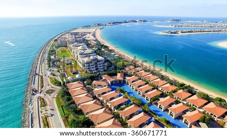 Dubai aerial view from helicopter. - stock photo
