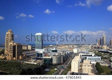Dubai Aerial view showing al barsha and jumeirah area - stock photo