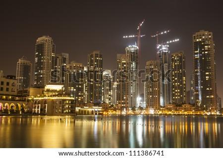 Dubai at night - stock photo