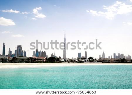 Dubai. Beautiful beach and sea - stock photo