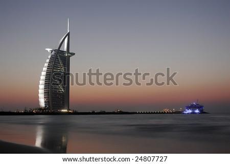 dubai by sunset - stock photo