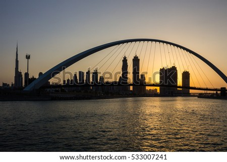 Dubai Canal in early morning sunrise