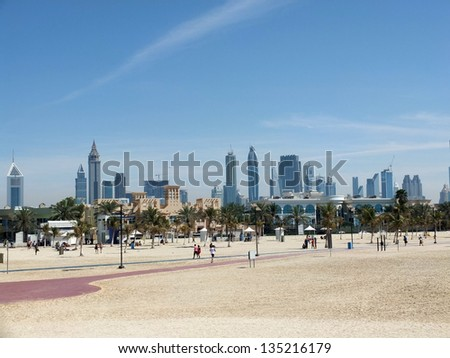 Dubai city center viewed from the beach - stock photo