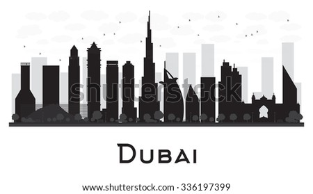 Dubai City skyline black and white silhouette. Business travel and tourism concept with modern buildings. Image for presentation, banner, placard and web site.
