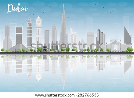Dubai City skyline with grey skyscrapers, blue sky and reflections. Business or tourism travel concept with place for text. Illustration for presentation, banner, placard or web site