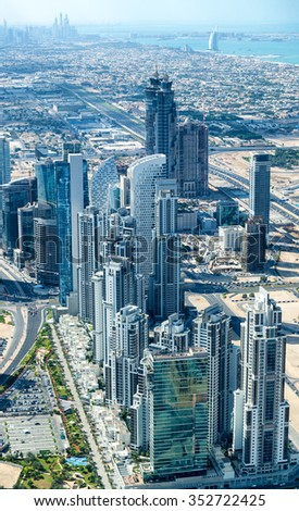 Dubai city, stunning aerial view. - stock photo
