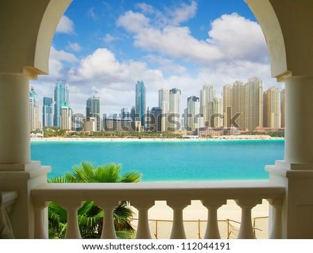 Dubai city, view from villa - stock photo