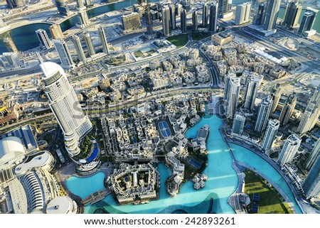 Dubai City ViewDowntown district, UAE - stock photo