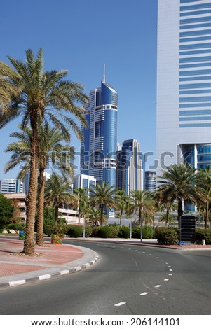 Dubai city with skyscrapers in United Arab Emirates - stock photo