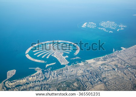 Dubai coastline, United Arab Emirates, Aerial View - stock photo