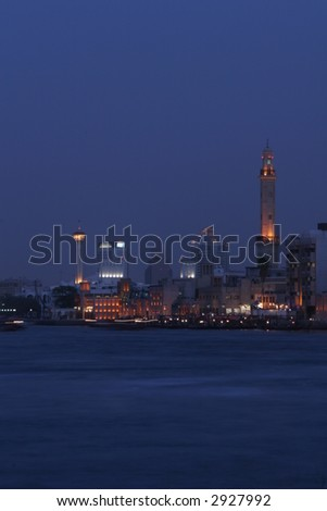 Dubai Creek at night - stock photo