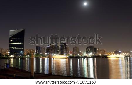 Dubai creek night view - stock photo