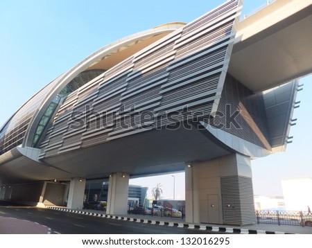 DUBAI - DEC 25: Dubai Metro Terminal on December 25, 2011 in Dubai, United Arab Emirates. The Metro is one of most effective way to explore and discover Dubai City. - stock photo