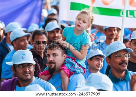 DUBAI - DECEMBER 12: Beat Diabetes Walk in Jumeira Park as seen on December 12, 2014. Beat diabetes is an initiative walk fund raising by Landmark Group that runs annually.  - stock photo