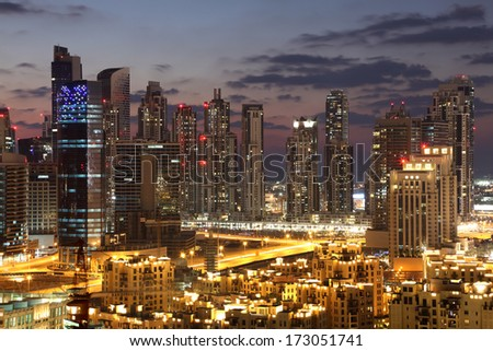 Dubai Downtown at night. United Arab Emirates