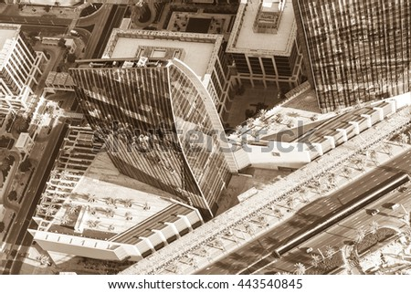 Dubai downtown morning scene. Top view from above. Sepia toned shot