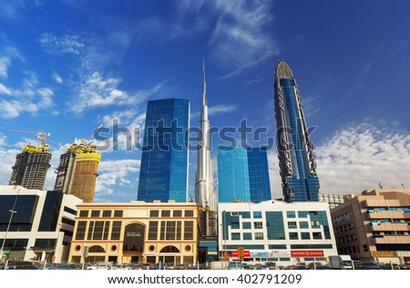 DUBAI FINANCIAL CENTER,UNITED ARAB EMIRATES-FEBRUARY 28, 2016: View on panorama of Dubai Financial Center with Burj Khalifa and modern skyscrapers in luxury Dubai city,United Arab Emirates